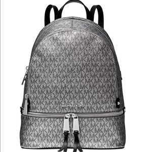 Michael Kors Rhea Zip Backpack (Silver/Black)